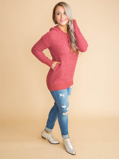 Make The Call Lace-Up Pullover - Marsala