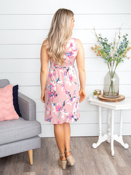 Only In My Dreams Floral Cutout Dress - Blush