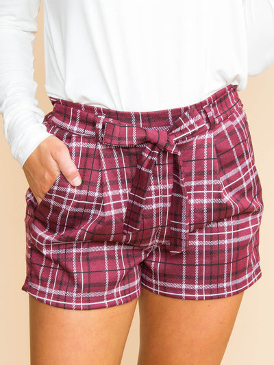 Something For Your Troubles Plaid Shorts - Wine