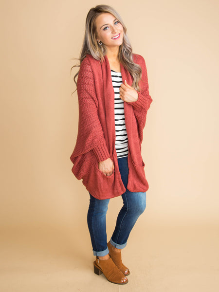 I'm Into Comfort Oversized Cardigan - Burnt Marsala