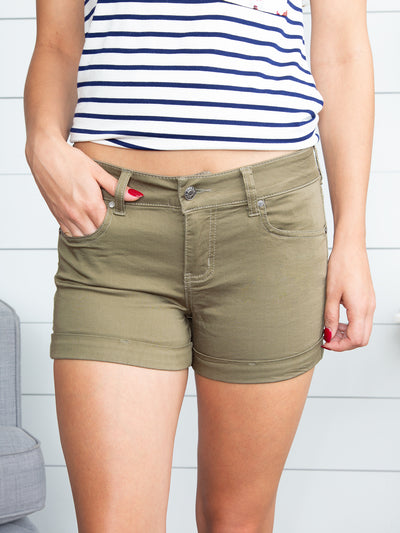 Reese Cuffed Shorts - Olive