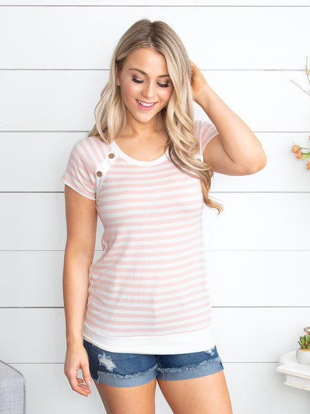My Favorite Moments Stripe Top - Pale Pink
