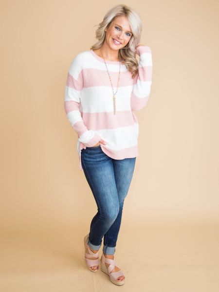 The Only Thing I Think Of Color-Block Sweater - Pale Pink