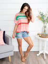Move To Miami Stripe Top - Coral