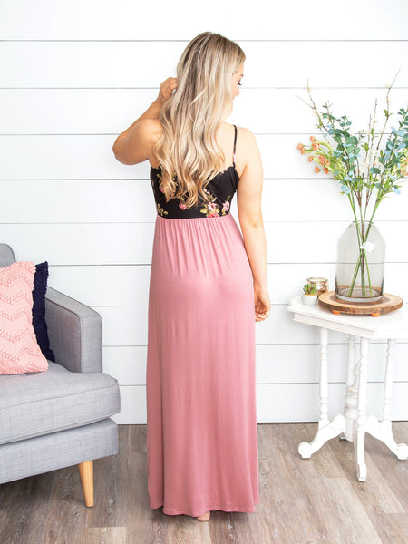 Everything I Need Floral Maxi Dress - Mauve