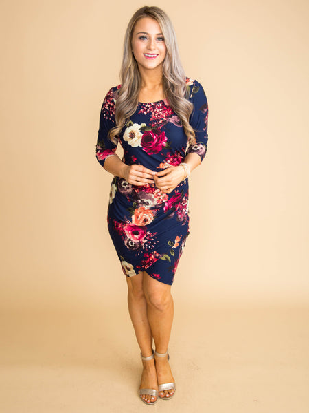 All Of My Hopes Floral Dress - Navy