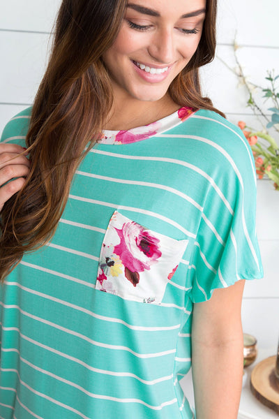 Summertime Blooms Mixed Media Top - Aqua