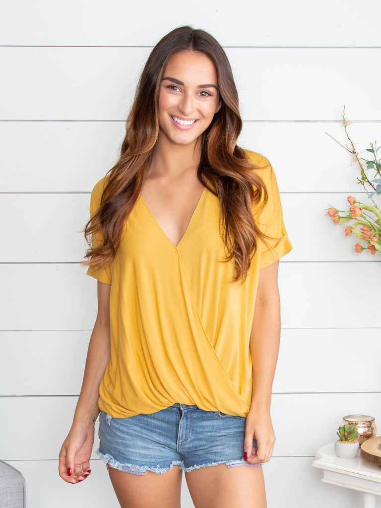 Fairytale Bliss Crossover Top - Mustard