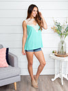 Waiting For You Lace Tank - Aqua
