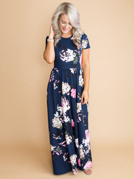 Reminds Me Of Love Floral Maxi Dress - Navy