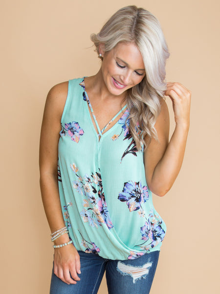 Never Forget Floral Criss Cross Top - Mint