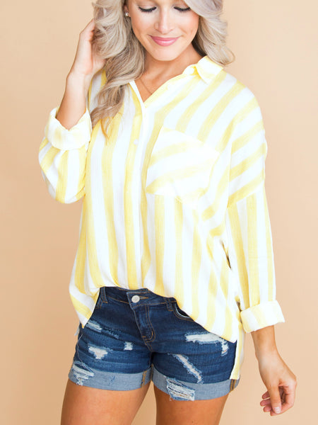 A Lovely Thought Stripe Top - Blonde