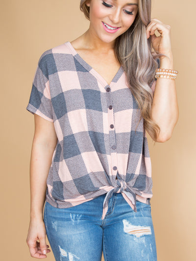Now Is The Time Plaid Knot Top - Apricot
