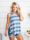 It's A Casual Thing Stripe Tank - Blue