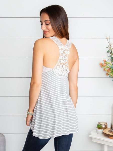 Give Me Your Time Stripe Lace Tank - Grey