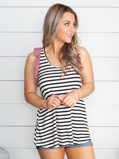 What I Have To Say Stripe Ruffle Tank - Black