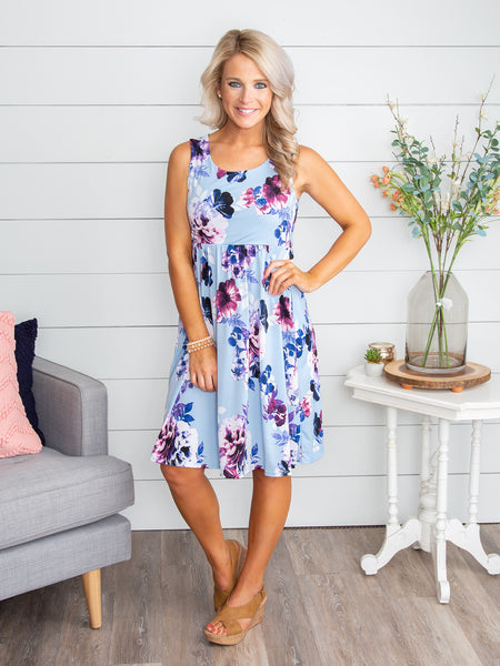 Dancing In The Wind Floral Dress - Lt. Blue