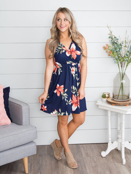 Here Comes The Bloom Floral Dress - Navy