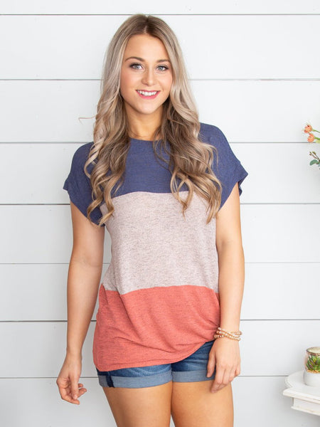 Just The Other Day Color-Block Knot Top - Navy