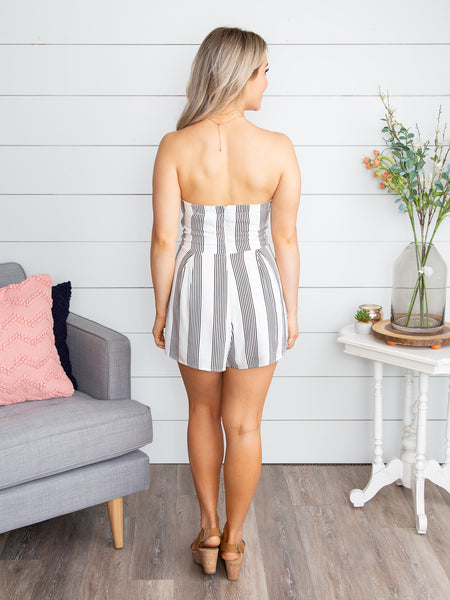 It's Worth A Night Out Stripe Romper - Off White