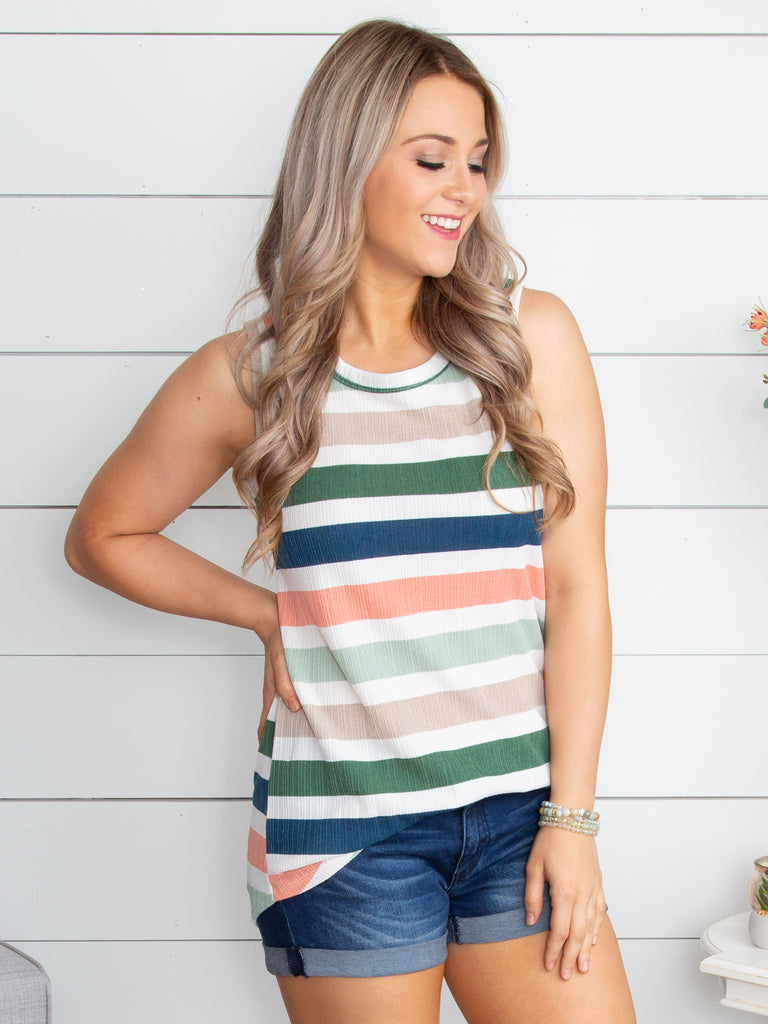 For This Moment Stripe Tank - Tan