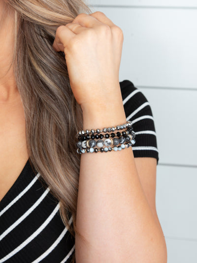 Mia 4 Piece Stackable Bracelet - Black