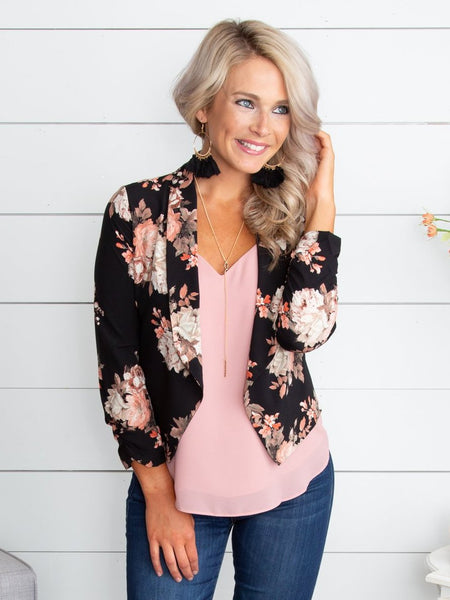 Where You'll Find Me Floral Blazer - Black