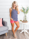 Naturally Nautical Open Back Stripe Top - Navy