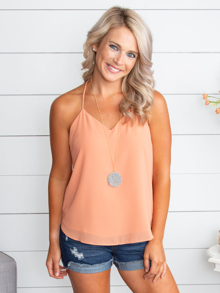 My Heart Is Falling For You Tank - Apricot