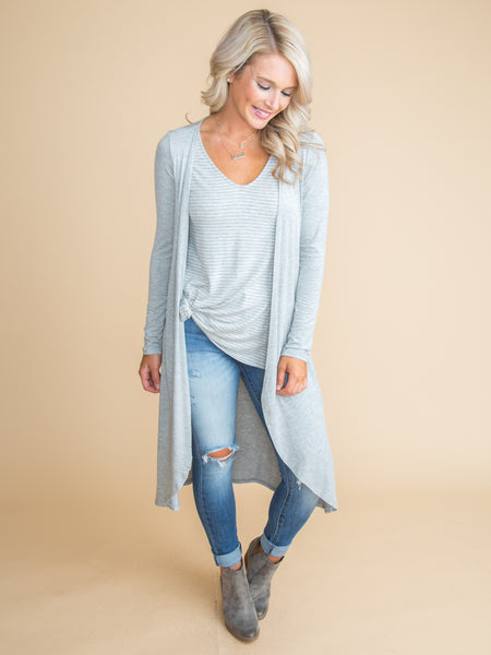 Better Things To Come Cardigan & Top - Lt Grey
