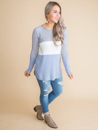 Best Things In Life Color-Block Top - Dusty Blue