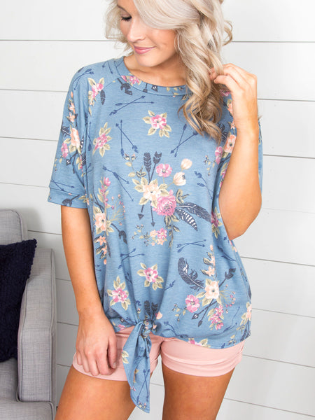 Bring Me Close To You Floral Knot Top - Dusty Blue