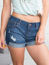 Blakely Distressed Denim Shorts - Dark Wash