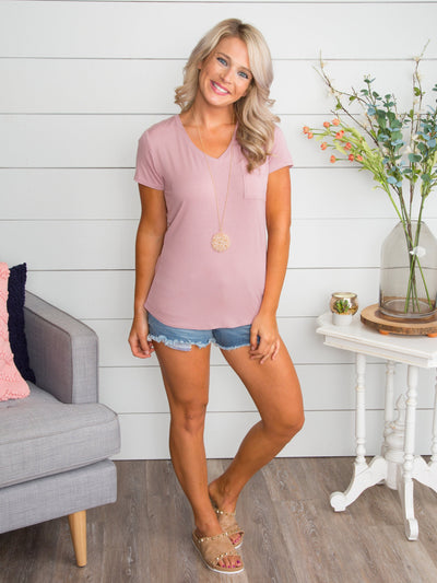 My Classic V-Neck Tee - Dusty Pink