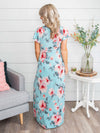 Taking Your Heart Floral Maxi Dress - Sky Blue