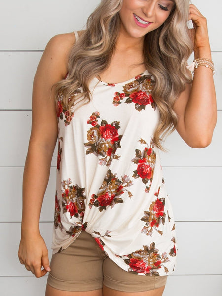 I Remember It All Floral Tank - Ivory