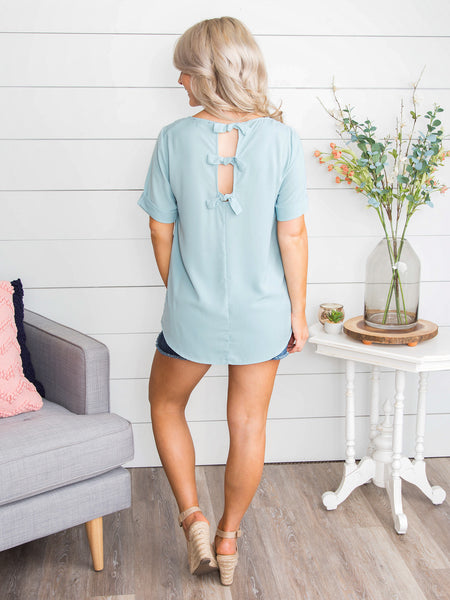 Never Afraid Of Love Bow Back Top - Dusty Blue