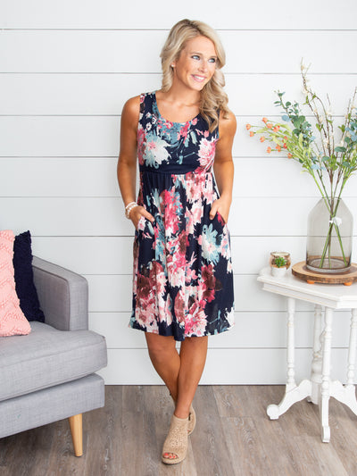 Get To Know Me Floral Dress - Navy
