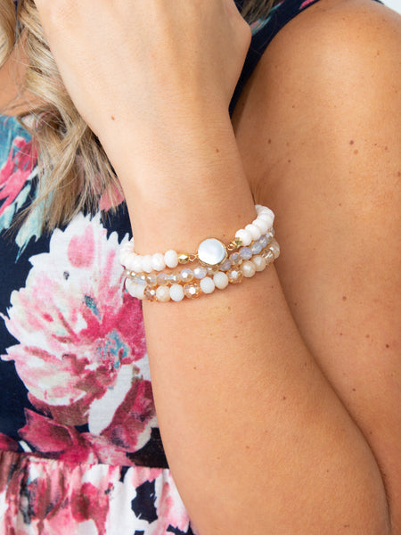 Ansley 3 Piece Stackable Bracelet - Ivory