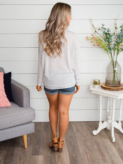 I Think We'll Stay Here Stripe Knot Top - Lt Grey