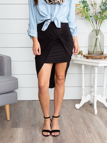 Gave You My Heart Knotted Skirt - Black