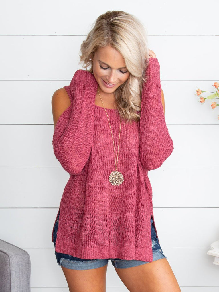 If I Make You Happy Open-Shoulder Sweater - Raspberry