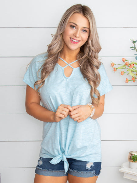 I Love That Criss Cross Knot Top - Lt Blue