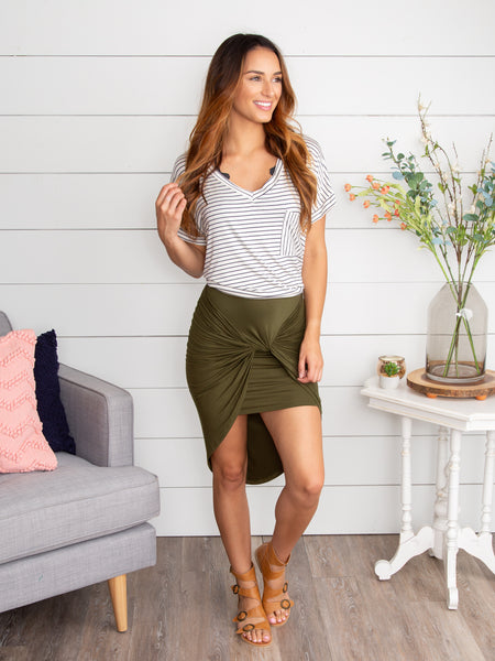 Gave You My Heart Knotted Skirt - Olive