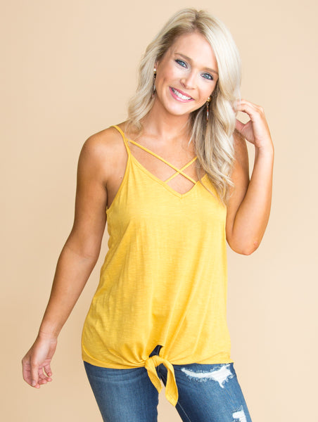 Every Moment With You Criss Cross Knot Tank - Mustard