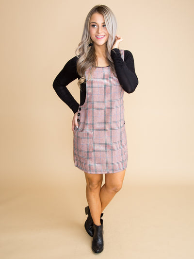 Not Your Average Plaid Overall Dress - Rust