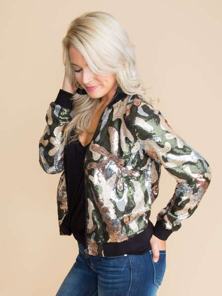 The Next Level Sequin Bomber Jacket - Camo