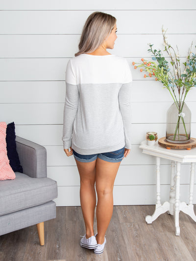 Someday Soon Stripe Top - Heather Grey