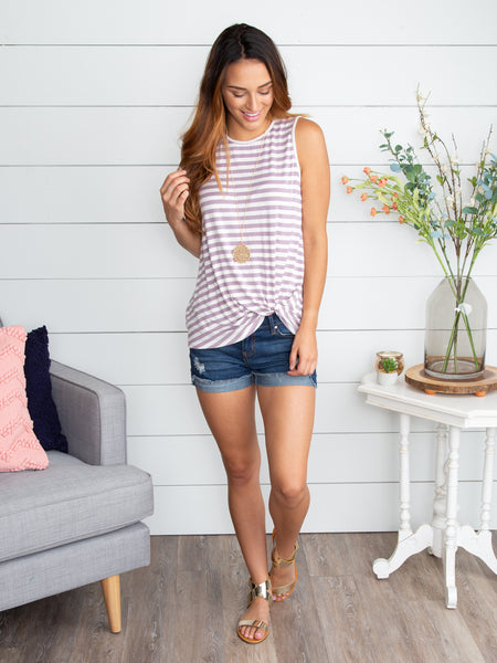 Lost Without You Stripe Knot Top - Lavender