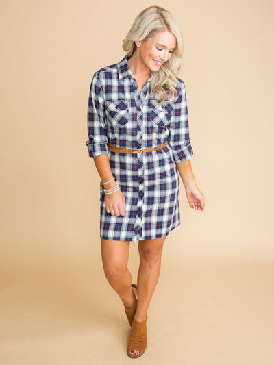 Waiting For Something More Plaid Button Down Dress - Navy